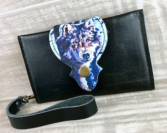 Leather Wallet fits Passport/ Phone with Wrist Strap & Zipper Pocket, Black/ Wolf  Print on 100% Genuine Leather