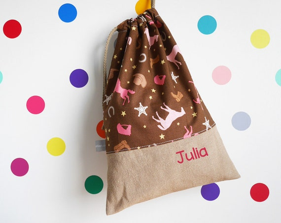 Customizable drawstring pouch - Horses - Brown - Pink - Cowgirl - Child Name - cuddly toy - slippers - toys