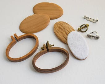 Kit NO laser Mini hoop - Two tone REVERSIBLE - Premium hardwood: Light Walnut and Cherry - (MH4025-X) - 40 x 25 mm