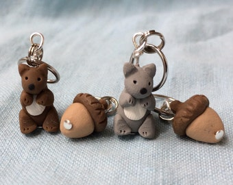 Squirrel and Acorn Stitch Markers set of 4 Miniature Polymer Clay Animal Knit Crochet Accessories
