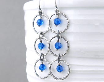 Blue Earrings Blue Crystal Earrings Long Silver Dangle Earrings Handmade Silver Jewelry Modern Earrings Gift for Her - Adorned Aria
