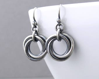 Rustic Silver Earrings Small Silver Circle Earrings Dangle Earrings Simple Everyday Earrings Handmade Rustic Jewelry - Love Knot