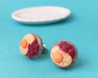 Gefilte Fish Plate Stud Earrings - polymer clay miniature food jewelry