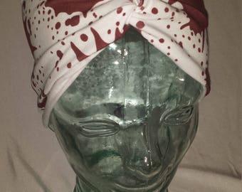 Blood Splatter Custom Print Cotton/Lycra Stretch Knit Scrunchy Wide Headband