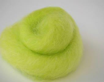 Lime Green, Longwool Cross Wool Roving, 5/8 oz