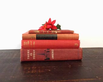 Mixed Lot 4 Red Vintage HC Books, Christmas Table Decor, Instant Collection for Home Library