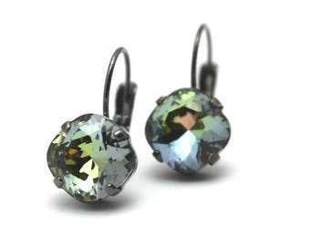 Soft Green Crystal Drop Earrings Classic Sparkling Blue Gray Solitaire Swarovski 10mm 12mm Rose Gold Matte Antiqued Silver Copper Finished