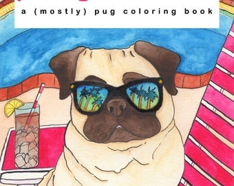 Pug Dog Adult Coloring Book, Coloring For Adults, Pug Gifts, Pug Print,Dog Lover Gift,Coloring Page,Coloring Sheet, Coloring Book For Adults