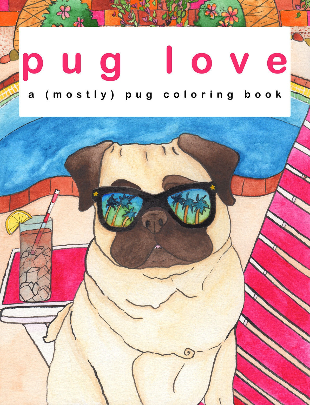 pug dog coloring book print pug dog lover gifts self