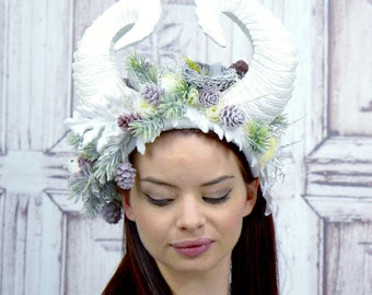 Ice Queen Horned Headdress, Winter, Woodland, Satyr, Frozen Forest Headpiece, Faun, Fawn, Cosplay, Fantasy, Lolita, Maenad, Flower Crown