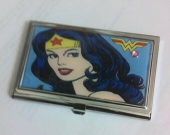 Blue Wonder Woman Business Card Holder Credit Card Case