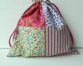 Project Bag Patchwork - Sock Knitting Bag - Sock Sack - Knitting Project Bag - Crochet Project Bag Basic (Small)