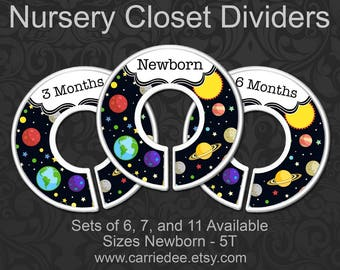 Planets Nursery Closet Dividers, Baby Clothes Dividers, Baby Boy Shower Gift, Solar System, Space Nursery Decor