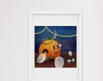 Pumpkin house at Halloween - art print