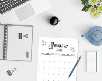 2018 Calendar - Printable Calendar - Doodles - Printable Monthly Calendar - Calendar Pages - Portrait Calendar - Calender - Instant Download