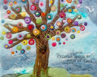 """And the Tree Blossomed, Fiber Art: Quality Art Print of Wool & Silk Fiber Felted Painting (8 x 8"""" square, you choose paper)"""