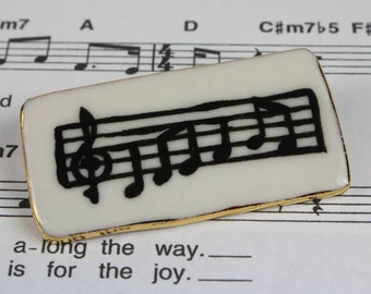 Sheet Music Porcelain Ceramic Brooch