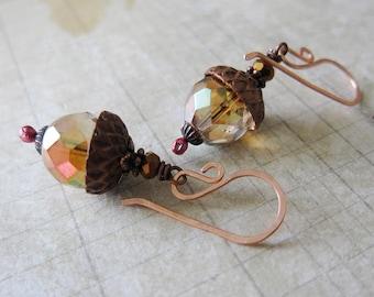 Acorn Charm Earrings in Copper