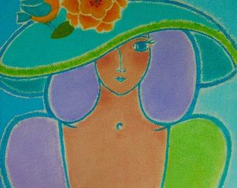 """A Original Acrylic on Canvas - """"Aqua Garden Muse"""""""