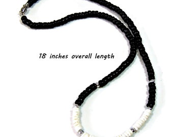 Surfer Style Necklace 18 inch White Puka Shells & Black Coconut Beads 7008