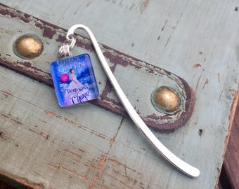 Silver Book Cover Charm Bookmarks - Custom Image Glass Charms on Beautiful Silver Bookmark Hook - Author or Book Signing Swag