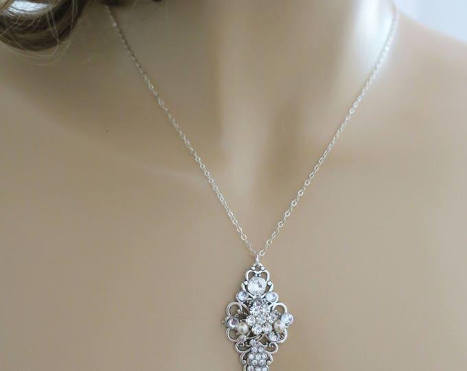Crystal Bridal Necklace Swarovski White Pearl Wedding Necklace Bridal Jewelry Art Deco Sterling Silver Crystal Pearl Pendant Diamante Sukran