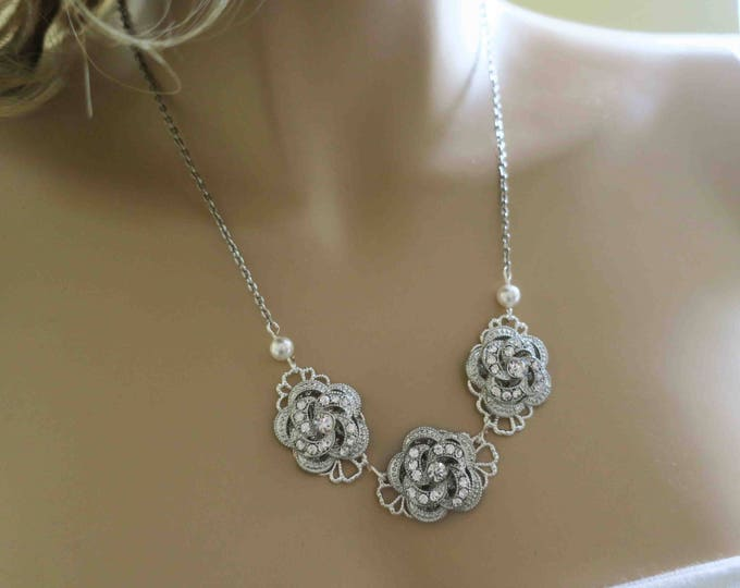 Crystal Bridal Necklace with Pearls and Roses