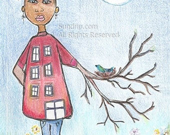 Strong Tree African American She Girl Art Stand Tall Powerful Woman illustration with nesting bird