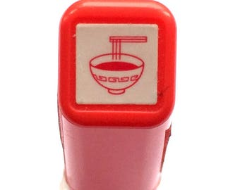 Noodles Rubber Stamp RED  Self Inking Pre Inked Japanese Food Stamp
