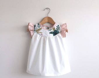 girls cotton dress with floral detail