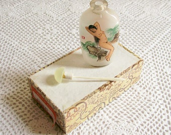 Vintage Reverse Glass Painted Perfume Bottle Tiny Scent Bottle Chinese Figure Painted