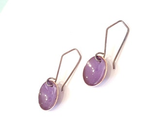 small enameled dangle domes in purple, aqua or peacock blue