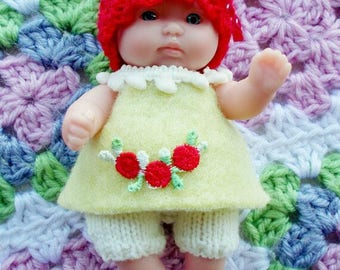 Knitted Dolls Clothes 5 inch Chubby Berenguer, Dress, Hat and Knit Shorts, knit outfit
