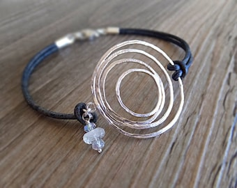 Silver Universe Abstract Circle Lines Bracelet, Sun Moon Earth Jewelry, Gift for Her, Moonstone Beads, Galaxy Jewelry - Gift Guide for Her