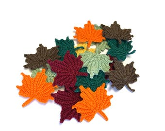 3 Crochet Maple Leaf Appliques, Autumn Fall Leaves, Decor, Applique Embellishments, Variety of Colors