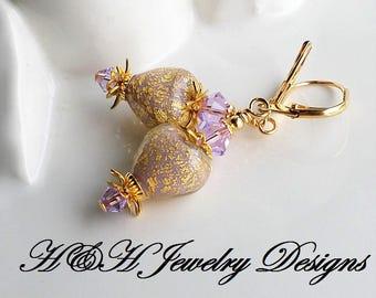 Murano Glass Heart Earrings, Purple Gold Venetian Glass Heart Earrings, Purple Heart Earrings, Violet Murano Glass Earrings, Gold Jewelry