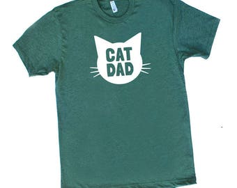 Cat Dad Heather Forrest Green TShirt - Family Photos, Gift for Dad, Gift for Him, Cat Guy, Cat Person, Cat Lady