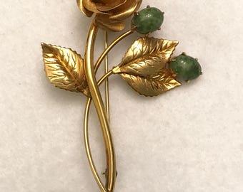 Vintage Winard 12K G. F. Gold Filled Flower Brooch with Green Stones