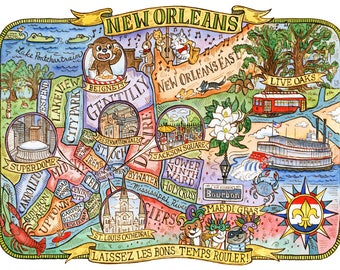 "Map of New Orleans Louisiana Art Print 11""x14"""