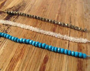 Three Inch Strand of Turquoise, Moonstone or Pyrite, Small 3.5mm - 4mm Rondelles, Three (3) Inch Strand of Rondelle Beads for Making Jewelry