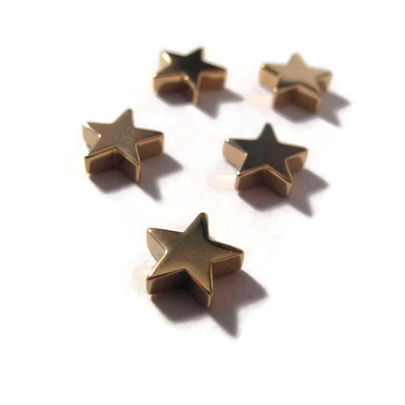 Gold Star Bead, Shiny Gold Natural Bronze Star Charm for Jewelry Making, 9.5mm x 9mm, Charm Necklace or Bracelet (CH vna1599)
