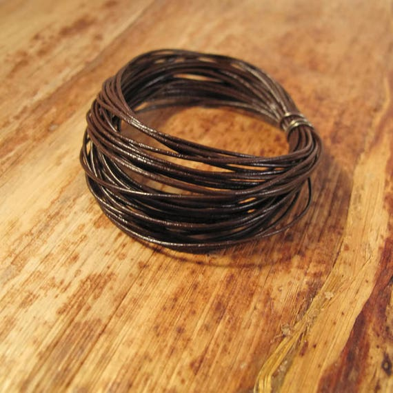 15 Feet of Natural Brown Leather Cord, 5 Yard Spool of .5mm Round Cord For Jewelry, Craft Supplies, Delicate Brown Leather, Natural Leather