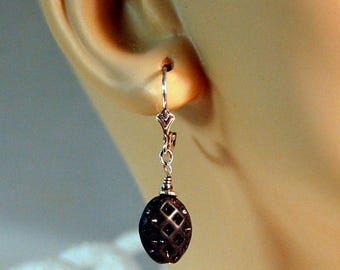 Vintage German, black, waffle glass beads and Bali sterling silver beaded, 925 lever back pierced earrings