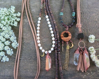Suede (Vegan) Necklace - Handmade Wooden Bead Crystal Points Peach Aura Quartz - Moon Funky - Earthy Bohemian Womens Jewelry - Wanderlust