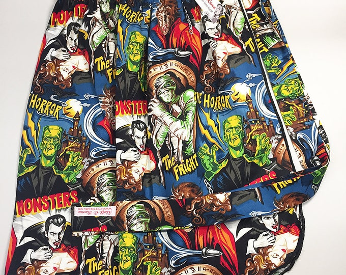 Half Apron - Vintage Pin Up Skirt Style - Horror Monsters