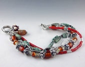 Handmade lampwork bead bracelet, BOHO bracelet, multistrand lampwork bracelet, glass bead bracelet, chunky bracelet, womens bracelet
