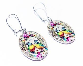 Bird Earrings, Birds in Crowns Jewelry, Dangle Earrings, Blue, Yellow, Pink, Roses, Flowers, Handmade, Gift for Her, Handmade Earrings, Bird
