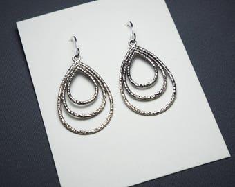 Triple Antique Silver Teardrop Hoop Earrings Sterling silver ear wires
