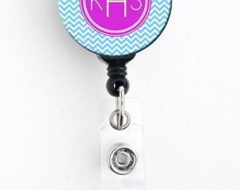 Retractable Badge Holder - Bright Pink and Aqua Chevron - Personalized Monogram Badge Reel, Lanyard, Carabiner, Steth Tag