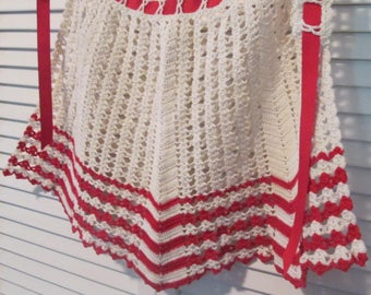 Vintage Hand Crocheted Apron - Red and White Hand Made Apron - Crocheted Half Apron